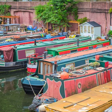 canal boats, narrowboats moored alongside each other